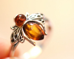 Natural  Baltic  Amber Sterling Silver Ring size R  code GI 753