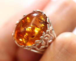 Natural  Baltic  Amber Sterling Silver Ring size L  code GI 763
