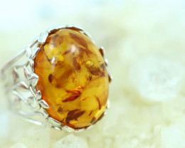 Natural  Baltic  Amber Sterling Silver Ring size N  code GI 764