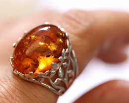 Natural  Baltic  Amber Sterling Silver Ring size N  code GI 766