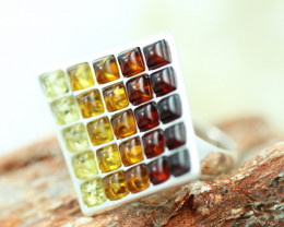 Natural  Baltic  Amber Sterling Silver Ring size R  code GI 775