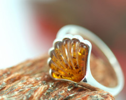 Natural  Baltic  Amber Sterling Silver Ring size R  code GI 777