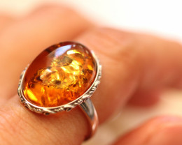 Natural  Baltic  Amber Sterling Silver Ring size P  code GI 785