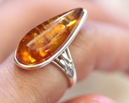 Natural  Baltic  Amber Sterling Silver Ring size P  code GI 801