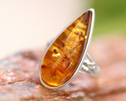 Natural  Baltic  Amber Sterling Silver Ring size R  code GI 802