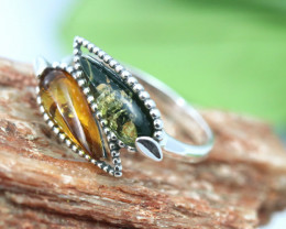 Natural  Baltic  Amber Sterling Silver Ring size N  code GI 806