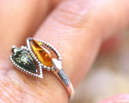 Natural  Baltic  Amber Sterling Silver Ring size N  code GI 807