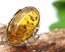 Natural  Baltic  Amber Sterling Silver Ring size N  code GI 811