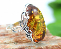 Natural  Baltic  Amber Sterling Silver Ring size N  code GI 812