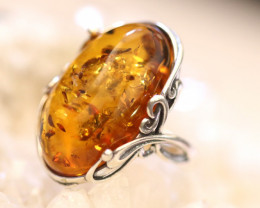 Natural  Baltic  Amber Sterling Silver Ring size R  code GI 813