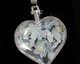 Lovers Heart Shape  Natural Aquamarine  Gemstone Pendants   AHA   300