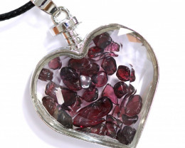 Lovers Heart Shape  Natural Garnet  Gemstone Pendants  AHA   305