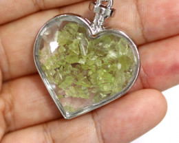 Lovers Heart Shape  Natural Peridot  Gemstone Pendants  AHA   308