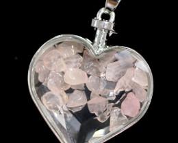 Lovers Heart Shape  Rose Quartz  Gemstone Pendants AHA  319