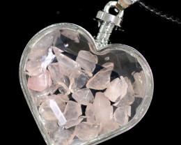 Lovers Heart Shape  Rose Quartz  Gemstone Pendants    AHA 320