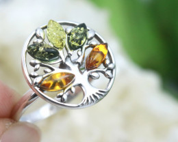 Tree Of Life  Baltic  Amber Sterling Silver Ring size N  code GI 857