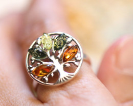 Natural Baltic  Amber Sterling Silver Ring size N  code GI 859