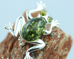 Natural Baltic  Amber Sterling Silver Brooch code GI 865