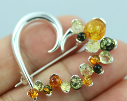 Natural Baltic  Amber Sterling Silver Brooch code GI 869