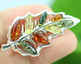 Natural Baltic  Amber Sterling Silver Brooch code GI 878