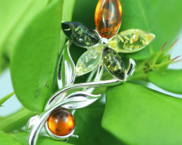 Natural Baltic  Amber Sterling Silver Brooch code GI 888