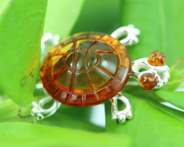 Natural Baltic  Amber Sterling Silver Brooch code GI 894