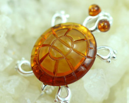 Natural Baltic  Amber Sterling Silver Brooch code GI 896