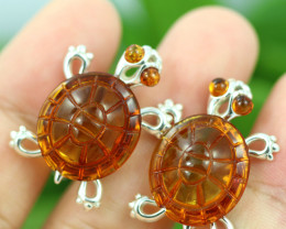 Natural Baltic  Amber Sterling Silver Cuff Links code GI 907