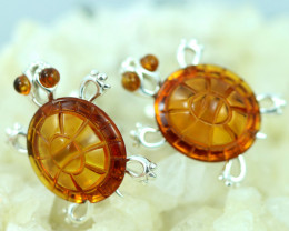 Natural Baltic  Amber Sterling Silver Cuff Links code GI 908