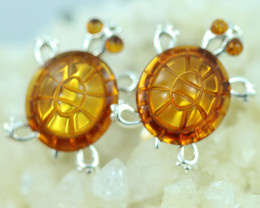 Natural Baltic  Amber Sterling Silver Cuff Links code GI 909