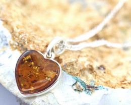 Natural Baltic  Amber  Silver Love Heart Pendant code GI 920