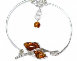 Natural Baltic Amber Sterling Silver Half Bangle code GI 931