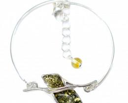Natural Baltic Green Amber Sterling Silver Half Bangle code GI 935