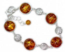 Natural Baltic Amber Sterling Silver Bracelet code GI 937
