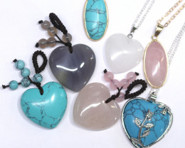 Lovers lucky Seven hearts Gemstone Pendants  AHA  348