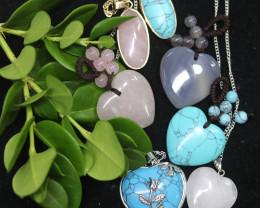 Lovers lucky Seven hearts Gemstone Pendants  AHA  349