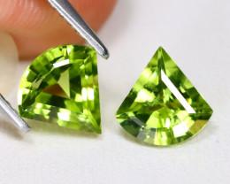Peridot 2.04Ct VS 2Pcs Fancy Cut Natural Neon Green Peridot CH1047