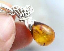 Natural Baltic Amber Sterling Silver Pendant code GI 999