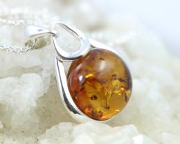 Natural Baltic Amber Sterling Silver Pendant code GI 1008