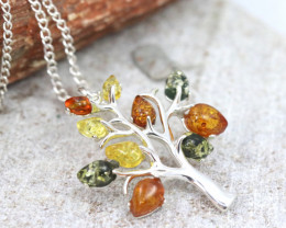 Tree Of Life  Baltic Amber Sterling Silver Pendant code GI 1020