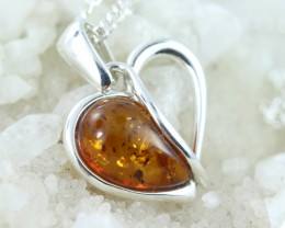 Lovers Natural Baltic Amber Sterling Silver Pendant code GI 1062