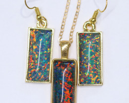 Elongated Synthetic Opal earrings & pendant CCC 1723
