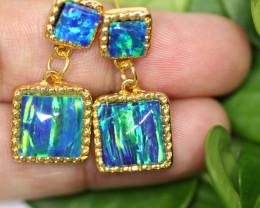 Diamond Shape Synthetic Opal earrings CCC 1734