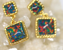Diamond Shape Synthetic Opal earrings CCC 1737