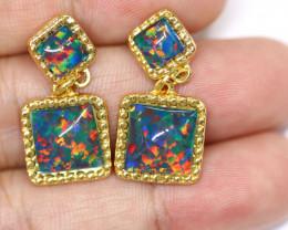 Diamond Shape Synthetic Opal earrings CCC 1739