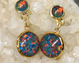 Dual Round Cute Synthetic Opal Earrings CCC 1741
