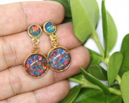 Dual Round Cute Synthetic Opal Earrings CCC 1743