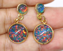 Dual Round Cute Synthetic Opal Earrings CCC 1745