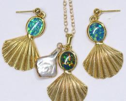 Australian Sea Collection Baroque Pearl & Opal Shell Set CCC 1759