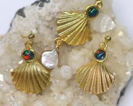Australian Sea Collection Baroque Pearl & Opal Shell Set CCC 1762
